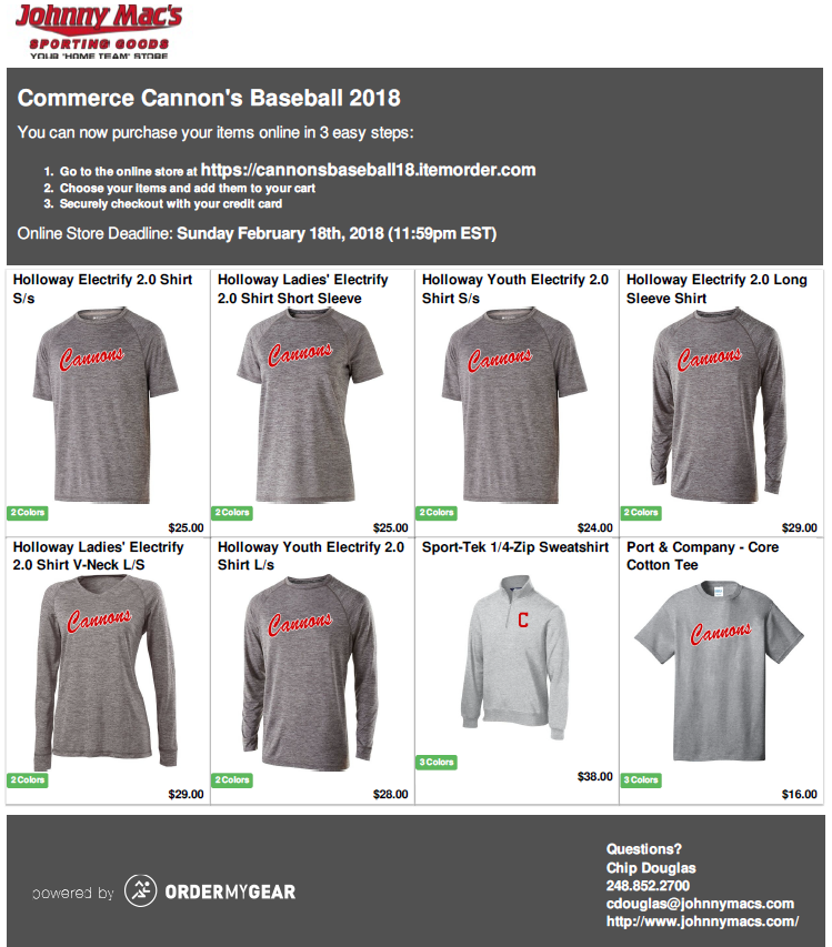 2018 cannons spiritwear